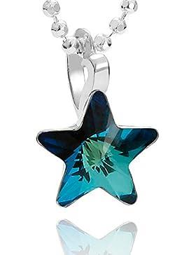 butterfly Mädchen Hals-Silberkette Sterlingsilber original Swarovski Elements Stern-Anhänger blau längen-verstellbar...