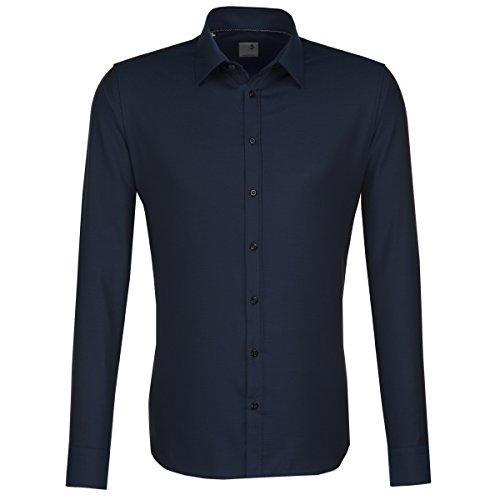 Seidensticker Herren Langarm Hemd Schwarze Rose Slim Fit grün / petrol strukturiert mit Piping 242017.79 Grün