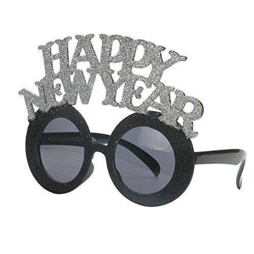 OULII Frohes Neues Jahr Gläser Foto Booth Props Sonnenbrille Dekoration für Silvester Party Favor