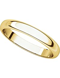 14ct Yellow Gold, Half Round Wedding Band 3MM (sz H to Z5)
