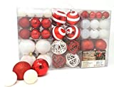 Lifestyle & More Esclusive Sfere per Albero di Natale Set con 100 Pezzi Color Bianco/Rosso