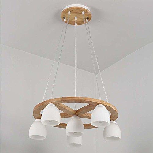 QAZSE Nordic Kronleuchter Massivholz Esszimmer Licht Esszimmer Lampe moderne einfache Holz Studie Schlafzimmer Kronleuchter, round, 6 head - Fan-anschlussdose