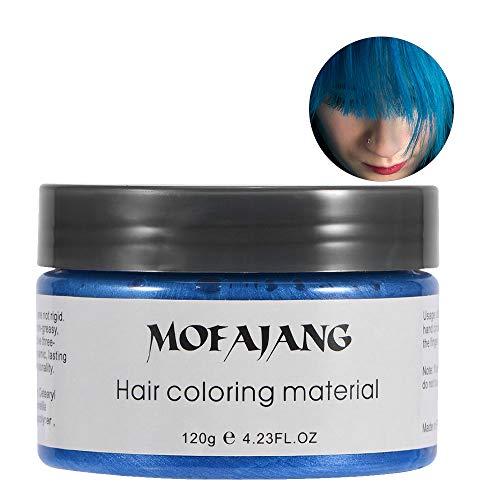 Cera Capelli Colorata, 120ML Uomo Donna Monouso per Capelli Tintura Fango Parrucchiere Crema Capelli Styling Colorazione Cera(Blue)