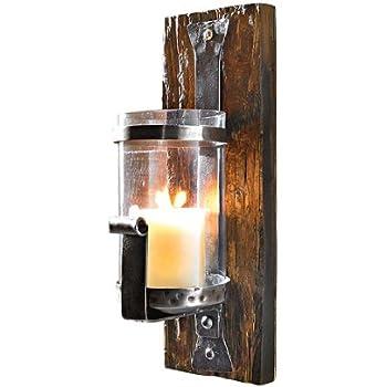 wandkerzenhalter wood rustikal pinienholz eisen. Black Bedroom Furniture Sets. Home Design Ideas
