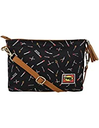 [Sponsored Products]Funk For Hire Women Match Stick Printed Small Canvas Sling Cross Body Bag Navy Blue