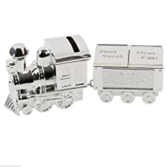 Idea Regalo - WBL - Salvadanaio placcato in argento a forma di trenino con carrozza-contenitore, regalo per battesimo