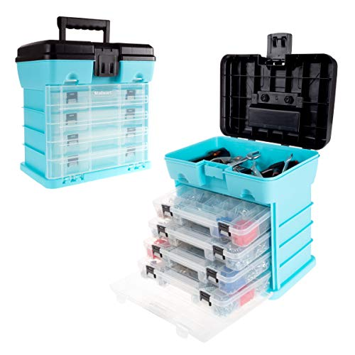 Storage and Tool Box-Durable Organizer Utility Box-4 Drawers, 19 Compartments Each for Hardware, Fish Tackle, Beads, and More by Stalwart (Light Blue) (Utility-organizer-box)
