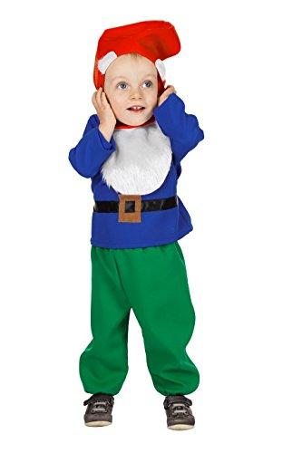 Zwergen-Kostüm für Klein-Kinder Oberteil Hose und Zipfelmütze Fantasy Märchen Karneval Fasching Theater Hochwertige Verkleidung Fastnacht Größe 80 Blau/Grün (7 Zwerge Kostüm Für Kleinkind)