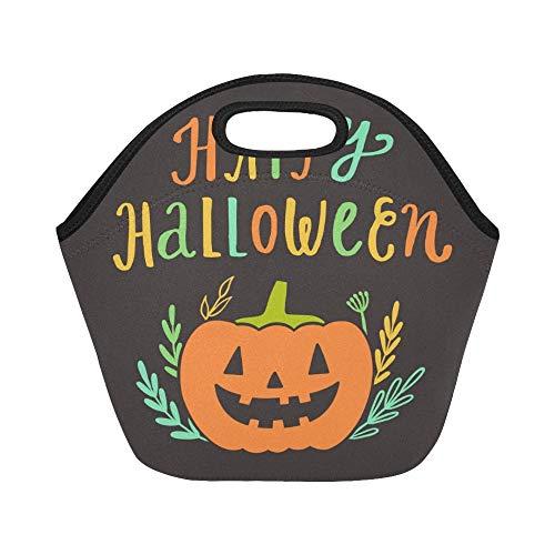 Isolierte Neopren-Lunchpaket Happy Halloween-Grußkarte Handgroße wiederverwendbare thermische dicke Lunchpaket-Tragetaschen Für Lunchpakete Für den Außenbereich, Arbeit, Büro, Schule