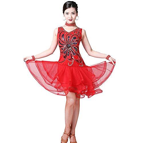 Tanzkleid für Frauen Frauen Latin Dance Kleid Outfit ärmellos V-Ausschnitt Blume Pailletten Rüschen Schichten Mesh Tango Rumba Dancewear Performance Wettbewerb Tanz Kostüm Funkelndes Partykleid