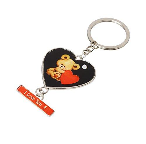 Invero® 'I Love You' Nachricht mit Teddy Bär Love Herz Schlüsselanhänger-ideal für alle Anlässe für Freunde, Liebhaber, Familie und Kinder - Nachricht Bären