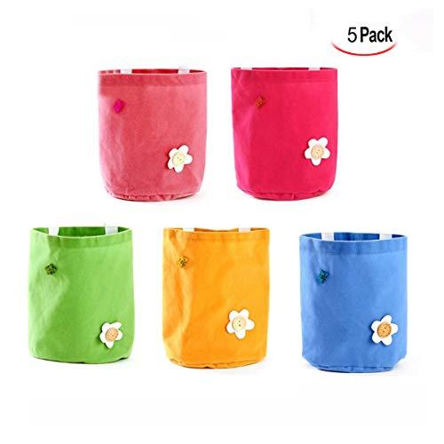 Xrten 5 pezzi borsa portaoggetti da parete,lino/cotone tessuto hanging organizer tasca porta borsa portaoggetti con tasche(colorato)