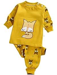 Conjunto de pijamas de niña niño bebé Conjunto de ropa de algodón manga larga de dormir