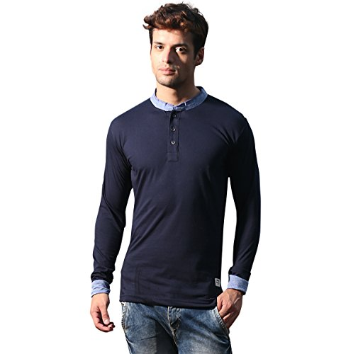 Alan Jones Men's Full Sleeve Henley Neck Cotton T-Shirt