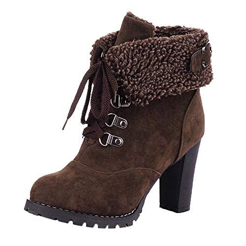 MOIKA Damen Boots Mode Frauen Lace-Up High Thick kurze Stiefel Schuhe Freizeit Stiefeletten High-Heel Stiefel(250/41,Braun)