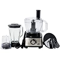 Ovation 1000W Multifunctional Food Processor with 2.4L Capacity, Various Speed Controls, 1.5L Glass Blender & 10 Attachments