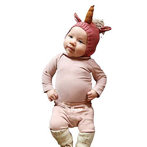 Ssowun Nuevo Sombrero para niños Gorro Unicornio Personalidad de bebé, Sombrero de Lana Punto de Moda