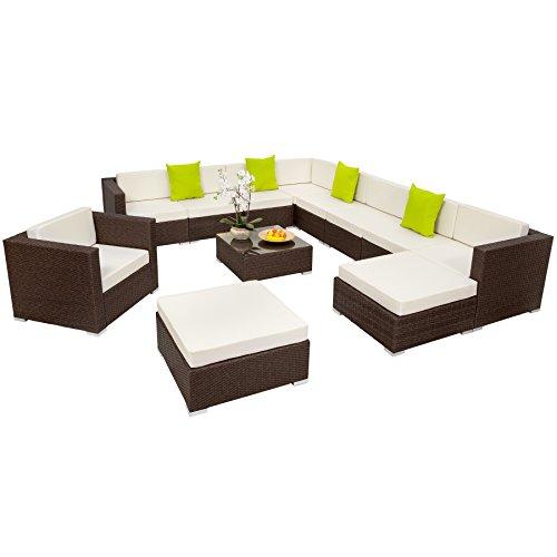 TecTake XXL Aluminium Luxury Rattan Garden Furniture Sofa Set Outdoor Wicker