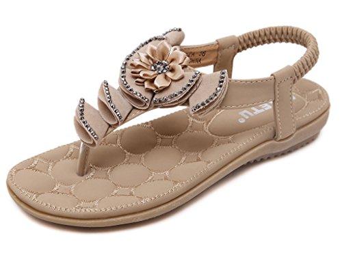 Fortuning's JDS Estate delle donne in gomma suola piatta sandalo della  cinghia con Fiore Beige