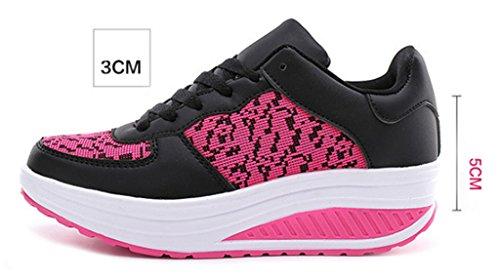 NEWZCERS Frauen Mädchen die Turnschuhe laufen Turnhallen-Eingangsport-Joggingschuhe die gehende Trainerart und weisekeil-Sportturnschuhe laufen Schwarz rose rot