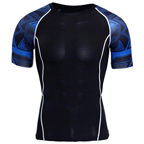 Herren T-Shirt Sport Kurzarm Top Running Fitness Druck Sportbekleidung GreatestPAK,Dunkelblau,XXL (Japan Herren Tracht)