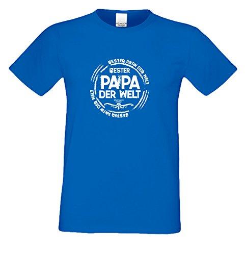 bequemes T-Shirt Herren Männer Motiv Bester Papa der Welt Geschenk-Idee, Vatertag, Weihnachten kurzarm Outfit, Kostüm Farbe: navy-blau Navy-Blau