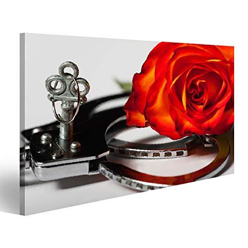Bild Bilder auf Leinwand Nahaufnahme der Handschellen mit Einer Rose Wandbild, Poster, Leinwandbild QFM