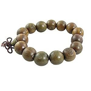 Buddhist Brown Wooden Carved Prayer Beads Wrist Mala Bracelet