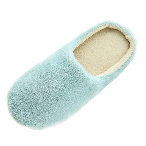 SAGUARO® Mujer Hombres Zapatillas Otoño Invierno Interior Casa Caliente Slippers Suave Algodón Zapatilla Pareja Zapatos, Azul 37