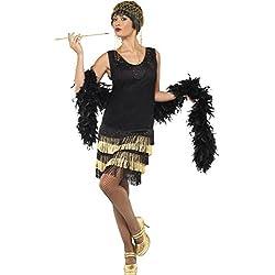 Smiffys Années 1920 Costume Flapper Frangé, Noir, M