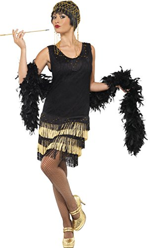 Smiffys, Damen 20er Fringed Flapper Kostüm, Kleid mit Spitzenfront und perlenbesticktem Saum, Größe: M, ()