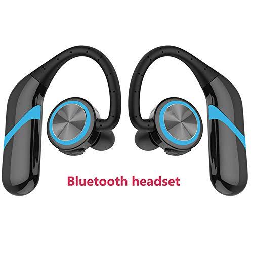 TBY Bluetooth Headset 4,2 Dual-Ear Stereo Wireless Kopfhörer Smart Sport Mini Headsets IXP6 Wasserdichten USB-Port,Blue