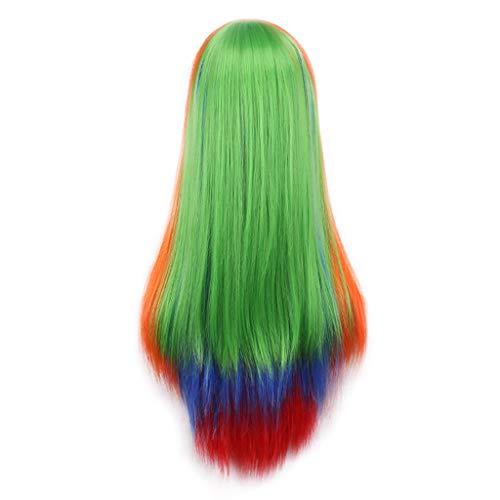Damen Wig langes gewelltes Kunsthaar, pinke Schichten hitzebeständig Vorderseite aus einem Netz Perücken mit einem dezenten transparenten Netz für weiße oder helle Kopfhaut ()