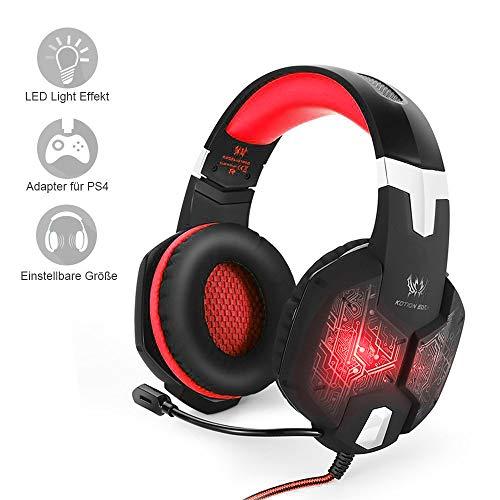marsboy Rot Gaming Headset für PS4- Playstation 4 Gaming Kopfhörer mit Mikrofon LED Effekt für PS4 PC Film Gaming Spielen Chat Musik