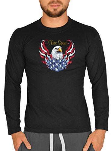 Biker Hemd - Eagle and Free Spirit - Langarm-Shirt für echte Kerle Schwarz