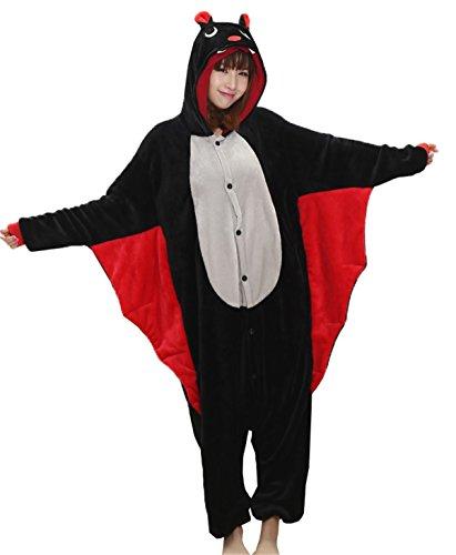 DaBag Pigiama Animali Intero Pigiami Interi Costume di Carnevale Halloween Camicie da notte Donna Ragazzi Sleepwear Cosplay Anime Party Pipistrello Nero Divertente