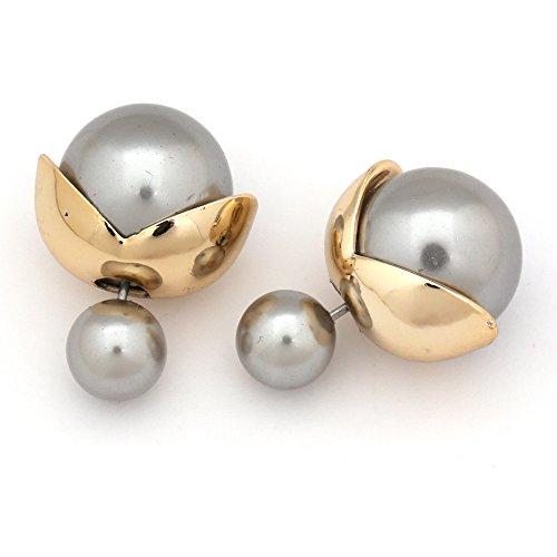 Idin Doppelseitige Ohrringe - Graue und galvanisierte Kunststoffperlen mit goldfarbenen Blättern -