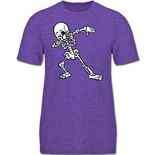 bbing Skelett - 128 (7-8 Jahre) - Lila Meliert - F130K - Jungen Kinder T-Shirt ()