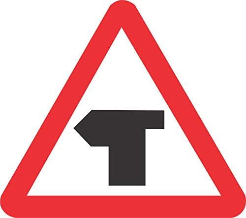 INDIGOS UG - Aufkleber - Sicherheit - Warnung - T-junction with priority over vehicles from the left. Road safety sign 30x30cm - Sticker für Büro, Firma, Schule, Hotel, Werkschutz