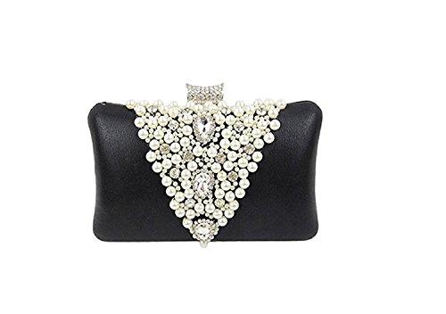 Kaever Mode Perle Satin Kupplungen Geldbörsen Abendtaschen Hochzeit Handtaschen für Frauen (Satin Abendtasche Handtasche)