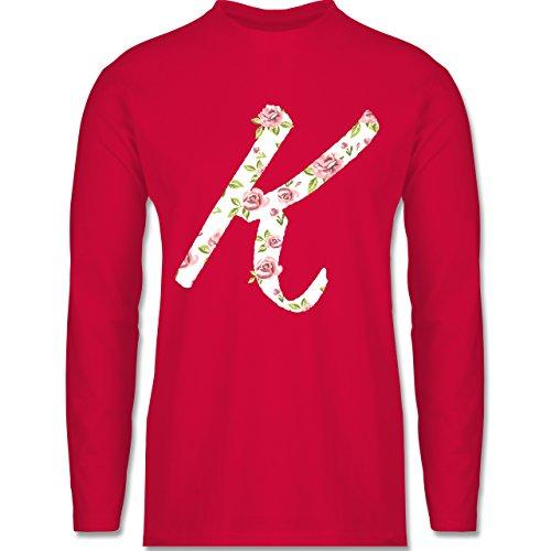 Shirtracer Anfangsbuchstaben - K Rosen - Herren Langarmshirt Rot