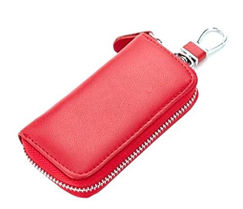 Schlüsseletui Echt Leder, Schlüsselmäppchen für Damen und Herren Autoschlüssel mit AutoschlüsselringBrilliance Co Schlüsselmäppchen Echt Leder mit Autoschlüsselring für Damen und Herren Rot