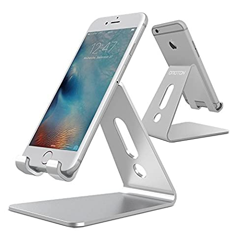 [Updated Solid Version] OMOTON Desktop Cell Phone Stand Tablet Stand, Advanced 4mm Thickness Aluminum Stand Holder for Mobile Phone (All Size) and Tablet (Up to 10.1 inch),Silver