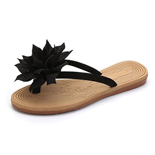 KOLY Pantofole Donna Sandali Floreali Donna Calzature da spiaggia morbide e morbide per il tempo libero Black