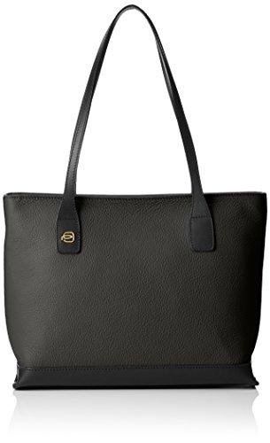 Piquadro Shopping Bag Collezione Antilias Borsa a spalla, Pelle, Nero, 30 cm