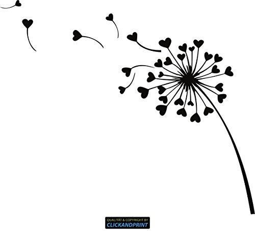 CLICKANDPRINT Aufkleber » Pusteblume Herzen, 30x25,3cm, Schwarz • Dekoaufkleber/Autoaufkleber/Sticker/Decal/Vinyl