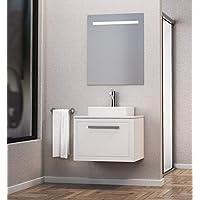 Baikal 830134155 Conjunto de Mueble de Baño con Lavabo sobre encimera y Espejo con Luces LED, Suspendido a la Pared, un Cajon, Melamina 16, Blanco Mate, 60 X 55 X 46 cm