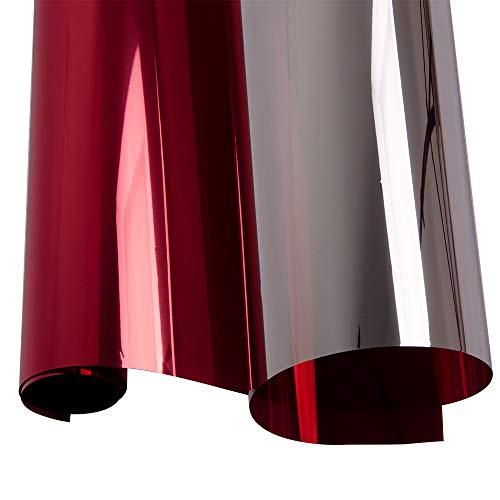 Hoho haute réfléchissant film solaire One Way Miroir fenêtre de confidentialité en verre Autocollant Privacy protection UV Décoration, Rouge/argenté, 60cmx500cm