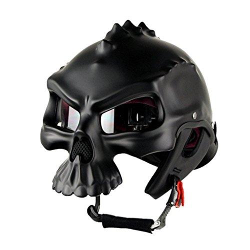 Half-Helm Harley Helmet Motorrad-Brille Doppelseitige Changeable Helm Multicolor (Farbe : Matt Black, größe : L) ()