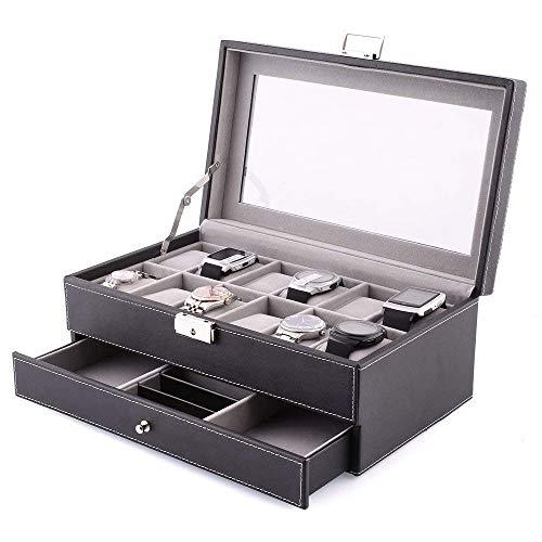 Amzdeal scatola di orologio custodia di gioielli in pelle 2 strati 12 griglie display cassetto chiudibile con scomparti extra multifunzione per casa e regalo
